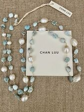 $265 NWT Chan Luu Freshwater Pearl & Larimar Sterling Silver Necklace~ Boho!