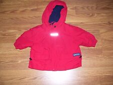 Baby Boy Red Winter COAT JACKET Hooded Size 12 Months Winter LANDS END NICE !