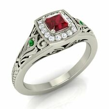 Certified 0.43 Ct Ruby, Emerald & SI Diamond 18k White Gold Vintage Style Ring