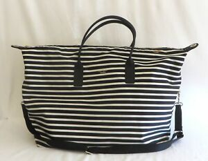 Kate Spade New York Black & White Striped Duffle Bag