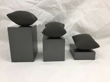 LOT OF 8-3 BLOCK SET BRACELET OR WATCH DISPLAY-GRAY WITH JEWELRY DISPLAY PILLOWS