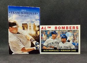 New York Yankees 2013 Pocket Schedule Mark Texeira & 2013 Topps Rodriguez & Cano