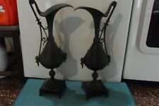 "Pair of antique cast iron urns 20"" Vases with Flowers Beautiful !!!"