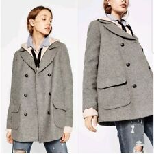 0a5b7181 NWTs ZARA Trafaluc Wool Blend Gray Double Breasted Military Jacket Coat S