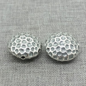 2pcs of 925 Sterling Silver Concave Round Beads Bird Nest Style for Bracelet