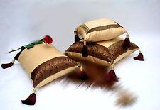 Luxury Decorative Beige w Maroon Metallic Lace, Tassels Silk Pillow Set of 3.