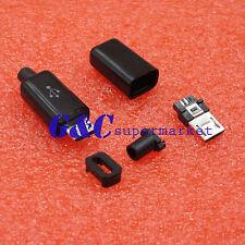 10Pcs Diy Micro Usb Male Plug Connectors Kit w/ Covers Black