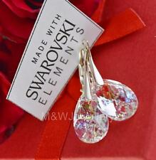 925 STERLING SILVER EARRINGS CRYSTALS FROM SWAROVSKI® ALMOND WHITE PATINA 16mm