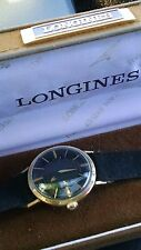 Rare Black Longines 10 kt. y.g.f.  mystery dial mens automatic watch.