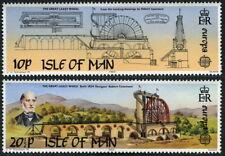 Isle of Man MNH 2v, large waterwheel, Designed by R Casement