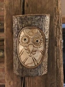 Wooden Owl Carving - Hand Carved Half Tree Log. Garden / Interior Ornament.
