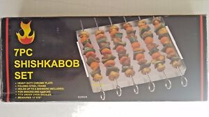 Shish Kabob Set, 7-Piece Non-Stick Skewers with Folding Rack for BBQ