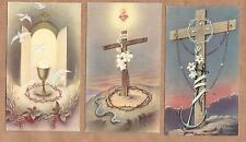 CROWN THORN + DOVE + GRAPE + SNAKE + ANCHOR. Set of 3 old vintage HOLY CARDS
