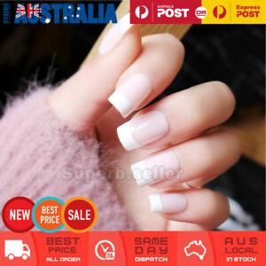 24pc Medium Natural White Fake French Nail Tip Glue On False Press On Artificial