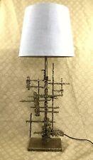 Large Marcello Fantoni Brutalist Table Lamp Italian Torch Cut Sculpture RARE
