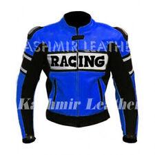 New Mens Custom Blue Racing Motorcycle Style Biker Cowhide Leather Jacket Hump