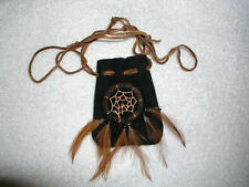 "Leather dream catcher talisman purses lot of TWO (2) 2x3""w/28"" drawstring"