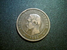 1856W FRANCE NAPOLEON III 10 CENTIMES COIN. EXCELLENT GRADE