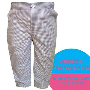 Boys Girls Unisex Baby Toddler Grey Gingham Trouser 100% Cotton Trousers Bottoms