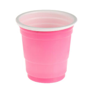 20 Festive Short Fun Shot Plastic Cups Colored Pink Party Drinks 2 oz Shots