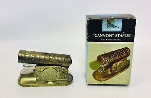 """Vintage Novelty Cannon Stapler 4"""".5"""" Plastic Body WIth Box 1969"""