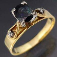 Natural Dark Blue SAPPHIRE DIAMOND 18k Solid Yellow GOLD Right Hand RING Sz M1/2