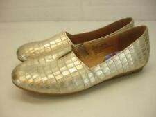 Women's sz 7 M Born Sebra Gold Metallic Croco Leather Shoes Flat Driving Loafers