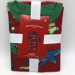 WONDERSHOP Baby 1 Piece Family Sleep Dinosaur Christmas Pajama 3-6 Months NWT