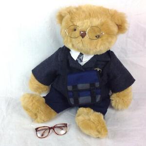 Bear Factory Teddy Bear with Grey School Blazer and Glasses in Bag