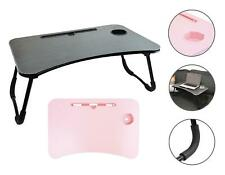 Laptop Table Lap Tray Bed Work Home Foldable Cup Holder Tablet Stand Pink Black