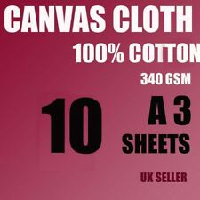 10 A3 CANVAS COTTON SHEETS 340 GSM FOR ARTIST, PAINTING, INKJET WHITE ,NOT PAPER