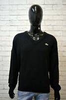 Maglione Nero Uomo LACOSTE Taglia 7 ( XXL ) Pullover Sweater Man Cardigan Lana