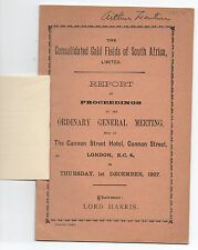 1927 Report Booklet The Consolidated Gold Fields of South Africa in London