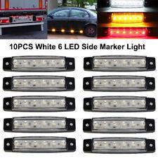 10x 12V 6 LED White Rear Side Marker Light Position for Bar Truck Trailer Lorry