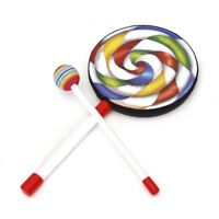 Rainbow Lollypop Hand Drum Hammer Kids Percussion Music Early Education Toy