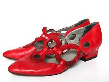 UK 5.5 / 6 Vintage Shoes - 1990s Red Leather - Destiny - 38.5/ 39