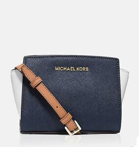 NWT Michael Kors Selma Zip Mini Messenger Handbag Navy/ White /Lugg 30T4GLMC1U