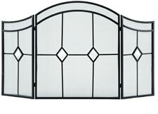 54 in. Fireplace Screen 3-Panel Durable Steel with Beveled Glass Diamond, Brown