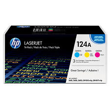 Genuine HP 124a Toner Cartridges Cyan Magenta Yellow CE257A