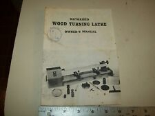 OWNERS Manual from a MOTORISED Wood Turning Lathe 8 pages