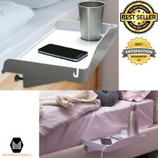 15 Inch Bedside Caddy Tray with Cup Holder and Cord Insert White Multi-Purpose