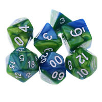 MagiDeal 7PCS Polyhedral Dice 16mm for Dungeons and Dragons Game Green Blue