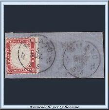1862 Italia Regno Vittorio Emanuele II° cent. 40 rosso carminio n. 3 Frammento