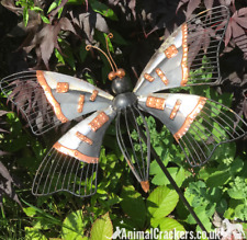 Grey & Copper painted Metal BUTTERFLY STAKE garden ornament decoration sculpture