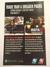 RARA Xbox 360 mafia II Add-On Content DLC codice Pack MADE MAN & Greaser Pack