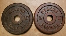 Pair of Vintage Billard Barbell 5 lb Standard Weight Plates Cast Iron pair set