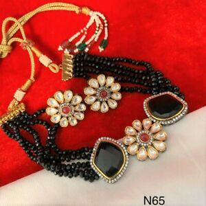 Pakistani Indian Bridal Gold Plated Kundan Black Choker Necklace CZ Jewelry Sets