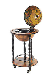 "Old World Globe Wooden Hidden Home Bar 17"" Nautical Pub Wine Rack Furniture New"
