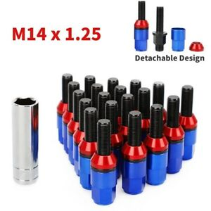 20 Extended Steel Wheel Lug Bolts Nuts Kit 14x1.25 Shank Cone Seat Blue for BMW