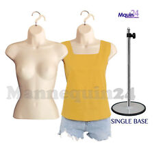 2 Flesh Mannequin Female Torso Dress Forms with 1 Metal Stand & 2 Hangers